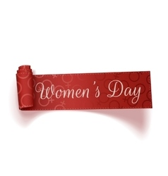 March 8 womens day red scroll realistic ribbon vector