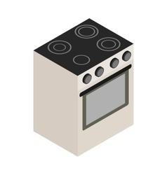 Electric stove icon isometric 3d style vector