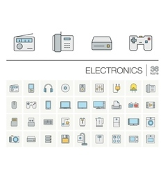 Electronics and multimedia color icons vector