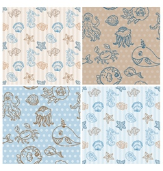 Marine life background collection vector