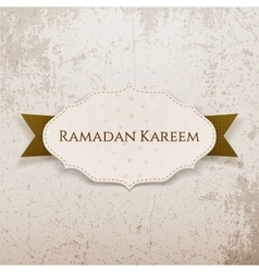 Ramadan kareem paper label with text and ribbon vector