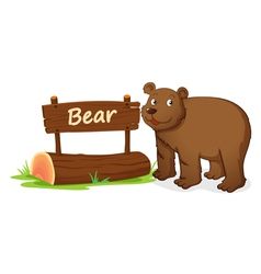 Cartoon zoo bear sign vector image