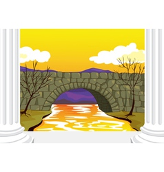 bridge made up of stones vector image vector image