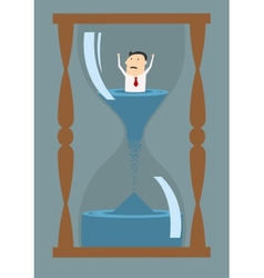 Cartoon businessman drowning in time vector image