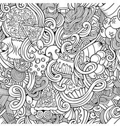 Cartoon doodles of italian cuisine seamless vector image