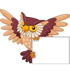 Cartoon owl bird flying holding blank sign vector