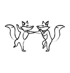 christmas fox celebration cartoon festive vector image