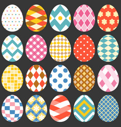Colourful easter eggs flat design set 2 vector
