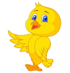 Cute bird cartoon waving vector image vector image