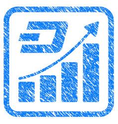 Dash growth trend framed stamp vector