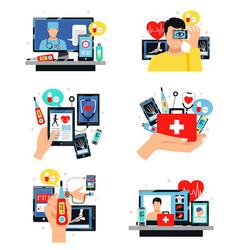 Digital health symbols compositions set vector