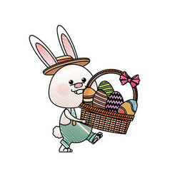Drawing funny easter rabbit with basket egg image vector