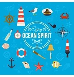 Enjoy ocean spirit Summer nautical typographical vector image