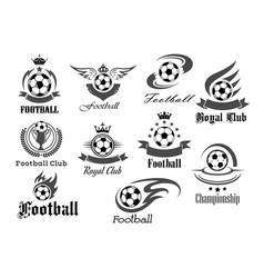 football ball icons for royal soccer vector image