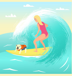 Girl on surfboard with dog vector