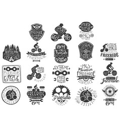 hand drawn black logos set for freeride theme vector image
