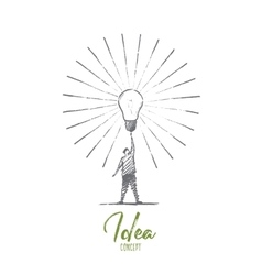 Hand drawn man touching big bright light bulb vector image vector image