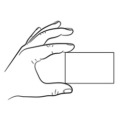 Hand holding a business card vector