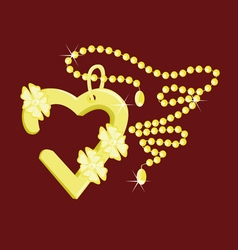 heart pendant on a chain vector image