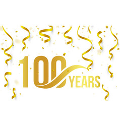 Isolated golden color number 100 with word years vector