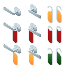 isometric hotel handles with hanging signs vector image