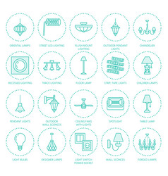 Light fixture lamps flat line icons home and vector