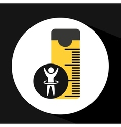 Man hand up silhouette measure tape icon design vector