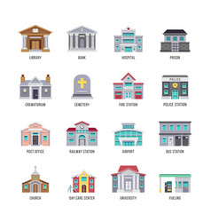 Municipal city buildings library bank hospital vector