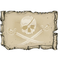 paper background with skull and sabers vector image