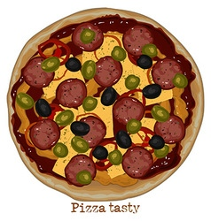 Pizza with salami olives and cheese vector
