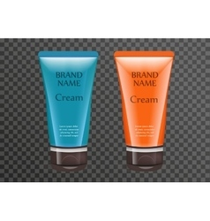 Realistic sun cream package template for your vector image