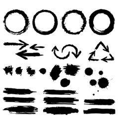 Set of ink design elements vector image