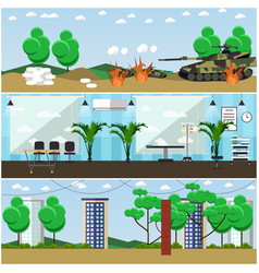 Set of military interior posters banners vector