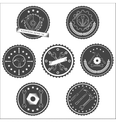 Set of vintage tools labels vector