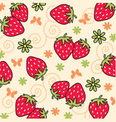 strawberry pattern 03 vector image vector image