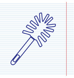Toilet brush doodle navy line icon on vector