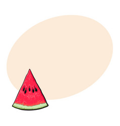 Triangular slice of ripe watermelon sketch style vector