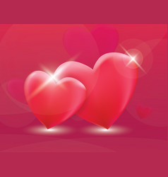 two red heart love vector image vector image