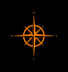 Wind rose sign orange icon on black background vector