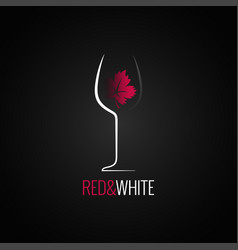 wine glass logo design wine leaf red and white vector image