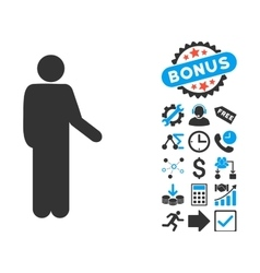 Relax standing pose flat icon with bonus vector