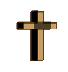 White background of wooden cross with shadow vector