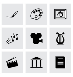 Black art icons set vector