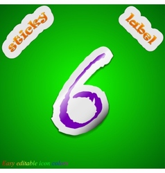 Number six icon sign symbol chic colored sticky vector
