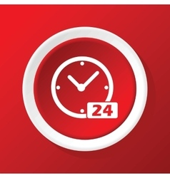 24 workhours icon on red vector