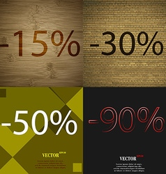 30 50 90 icon set of percent discount on abstract vector