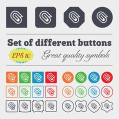 Paper clip icon sign big set of colorful diverse vector