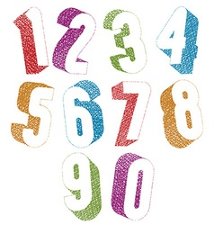 Retro style 3d bold numbers set with hand drawn vector