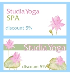 Design flyer card with flowers lotus vector