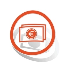 Euro banknote sign sticker orange vector